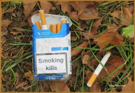 Sigaretten in de berm lagen voor het oprapen.Het lag er verdacht ,'t zette tot nadenken of zou het ongedacht niet er over nagedacht kunnen zijn?